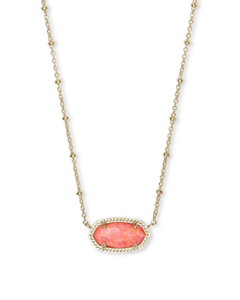 Elisa Satellite Gold Short Pendant Necklace In Coral Kyocera Opal