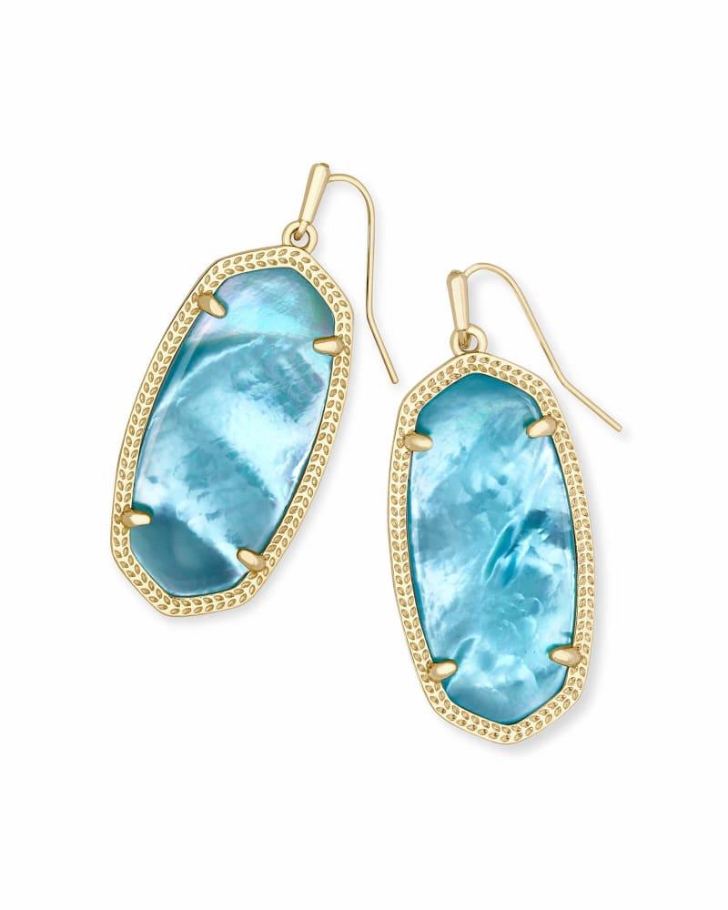 Elle Gold Drop Earrings In Aqua Illusion