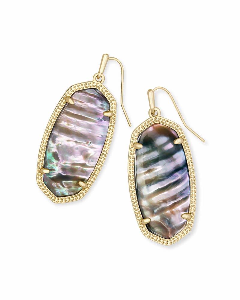 Elle Gold Drop Earrings In Nude Abalone