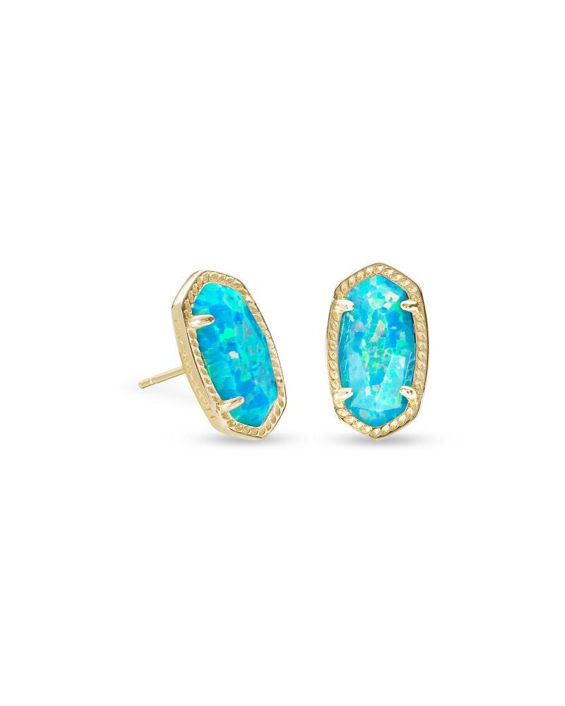 Ellie Gold Stud Earrings In Turquoise Kyocera Opal