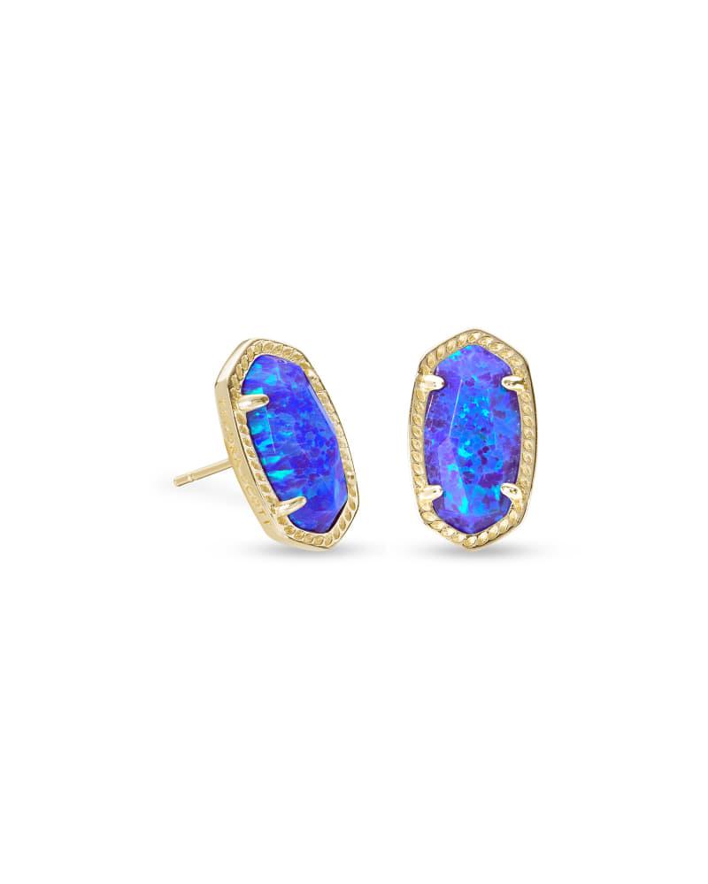Ellie Gold Stud Earrings In Violet Kyocera Opal