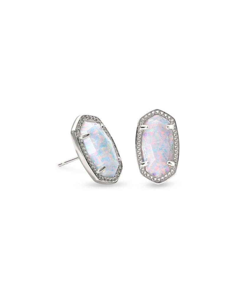 Ellie Silver Stud Earrings In White Kyocera Opal