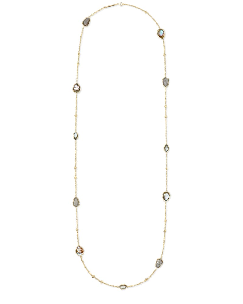 Gwenyth Gold Long Strand Necklace In Gray Mix