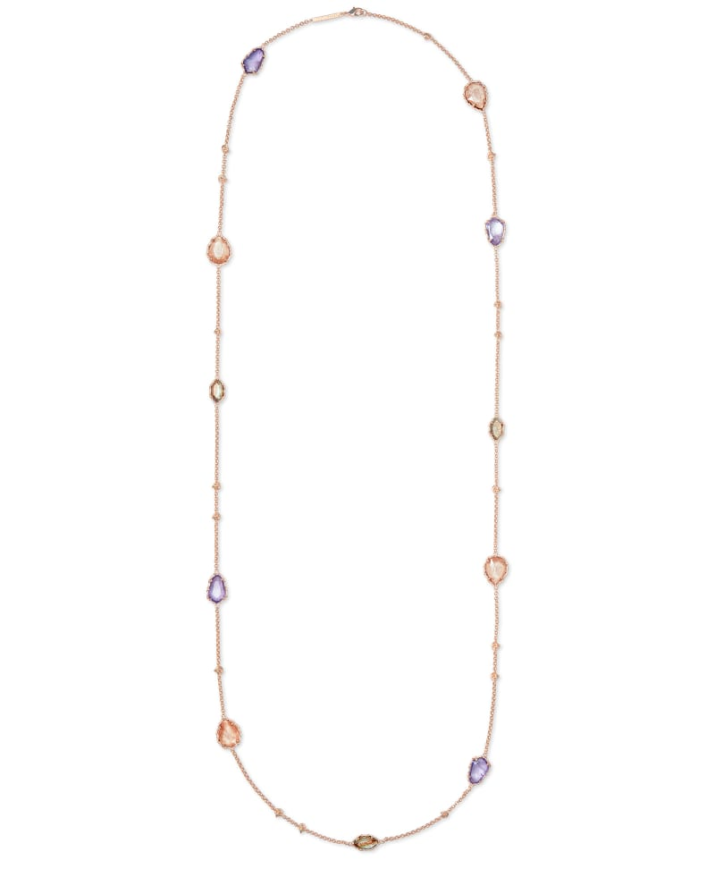 Gwenyth Rose Gold Long Strand Necklace In Blush Mix
