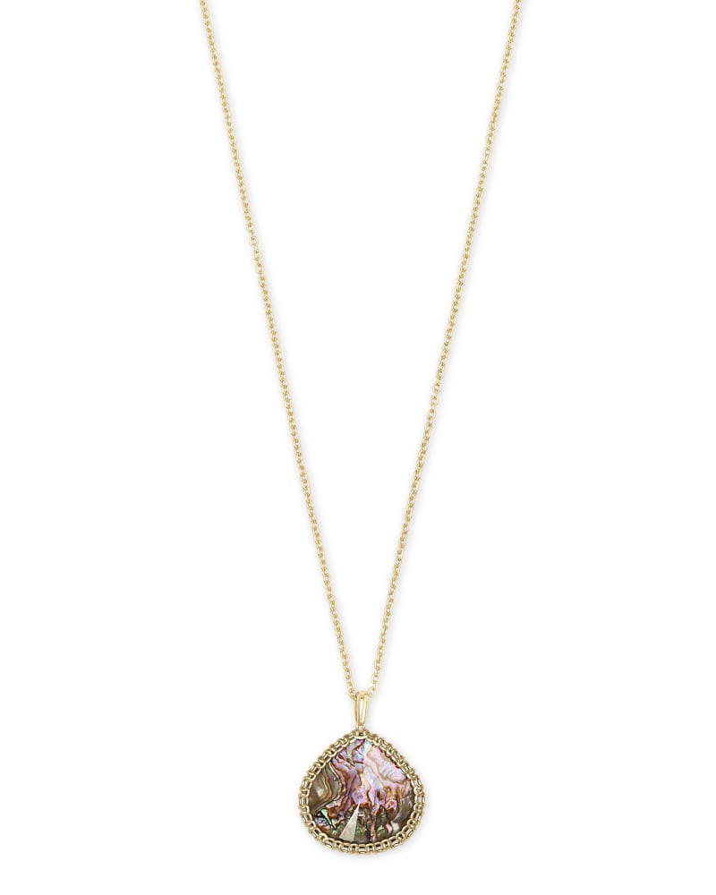 Kenzie Gold Pendant Necklace In Nude Abalone