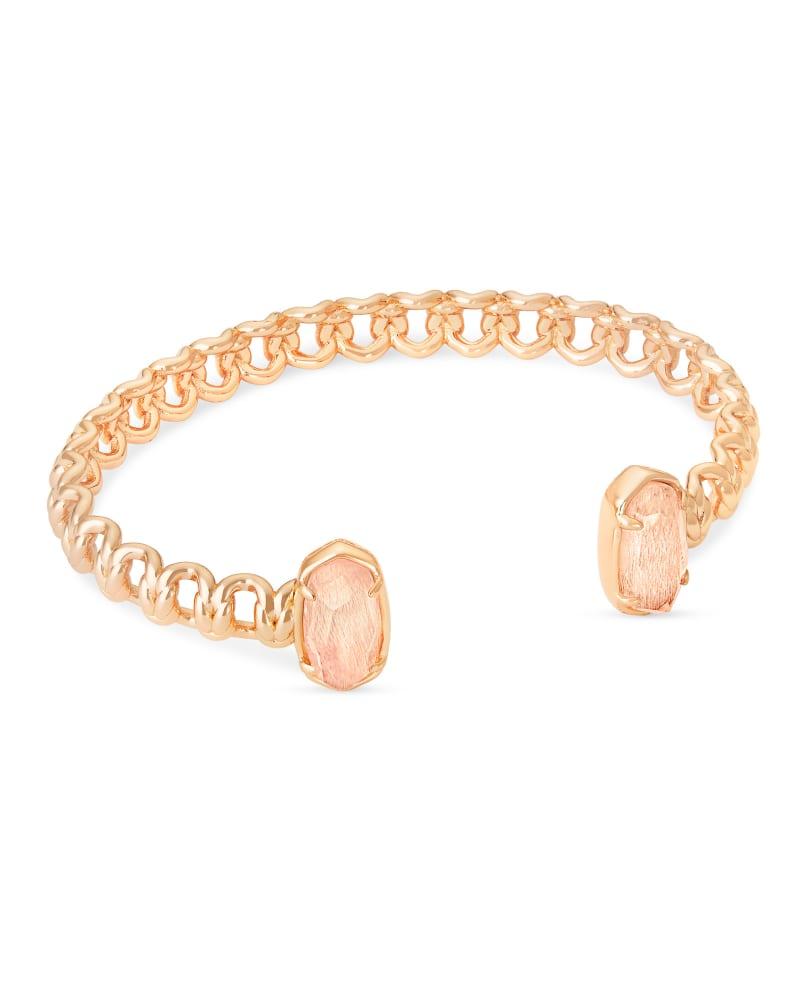 Macrame Elton Rose Gold Cuff Bracelet In Blush Wood