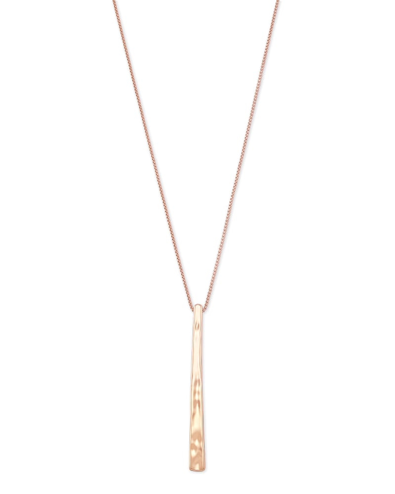 Zorte Long Pendant Necklace in Rose Gold