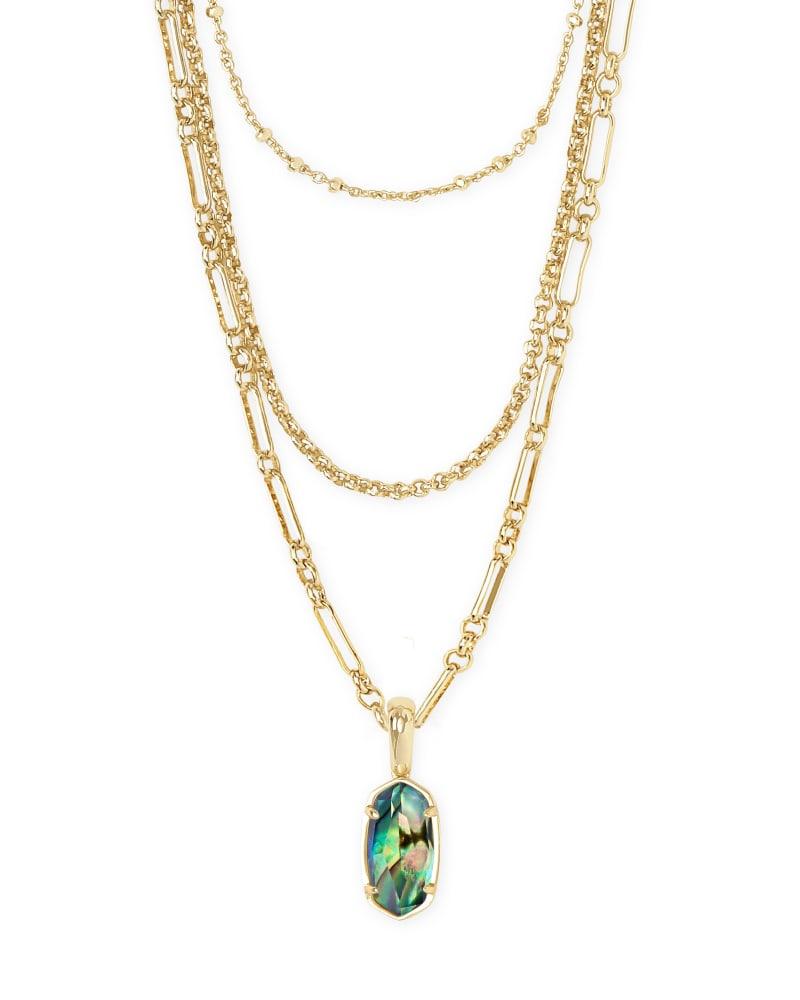 Elisa Triple Strand Gold Necklace