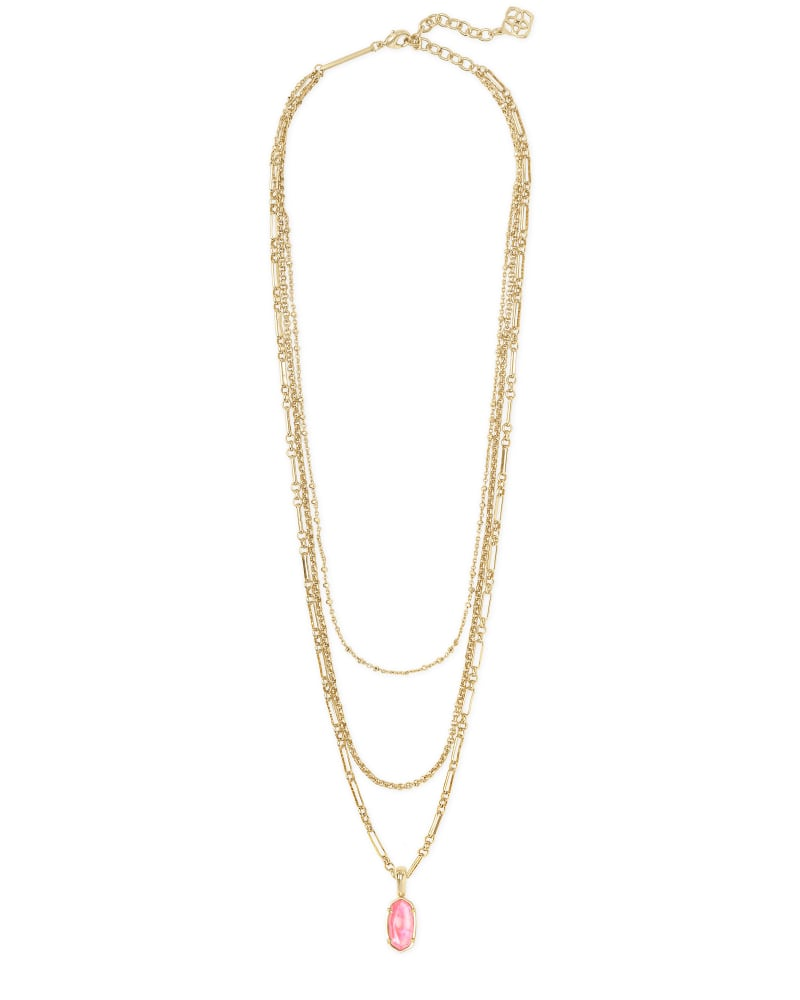 Elisa Gold Triple Strand Necklace in Iridescent Coral Illusion