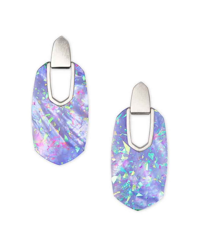 Kailyn Silver Statement Earrings in Iridescent Lilac Illusion