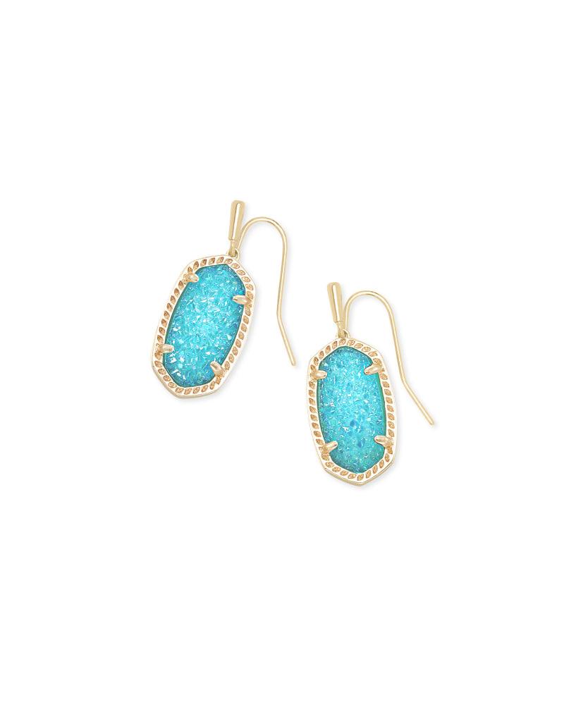 Lee Gold Drop Earrings in Bright Aqua Drusy