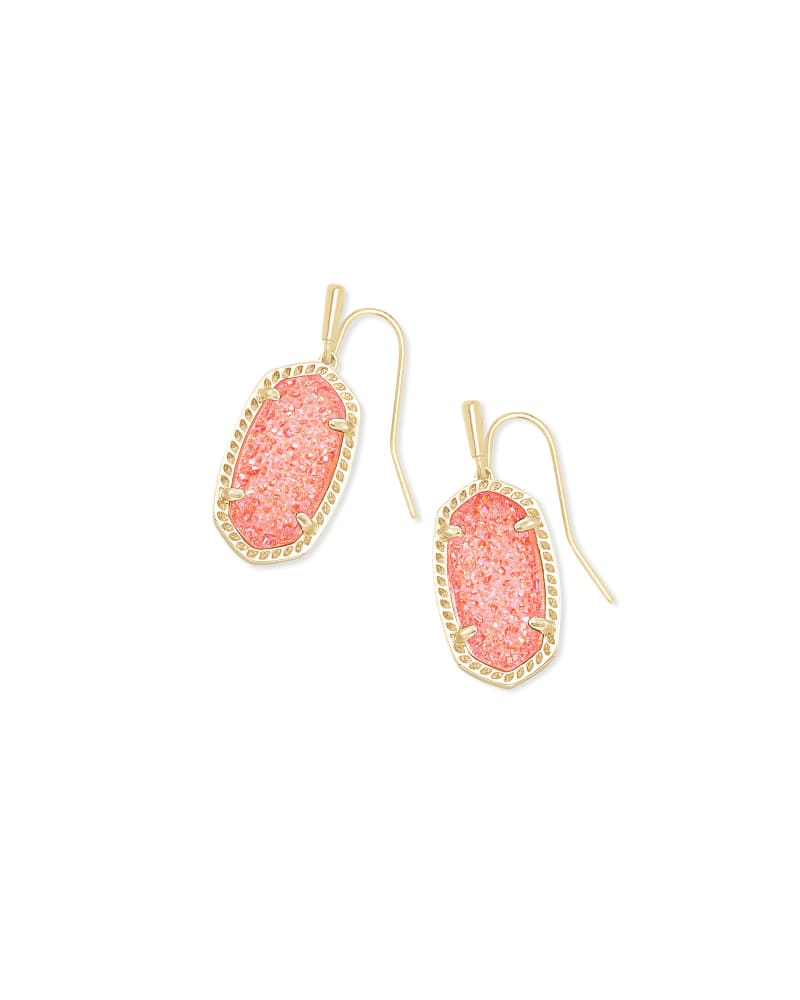 Lee Gold Drop Earrings in Coral Drusy