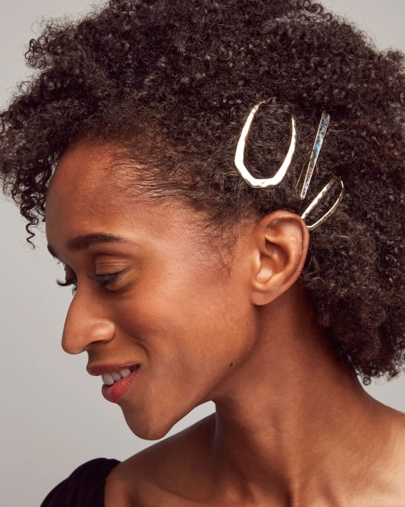 Brooklyn Gold Bobby Pin in Iridescent Coral Illusion