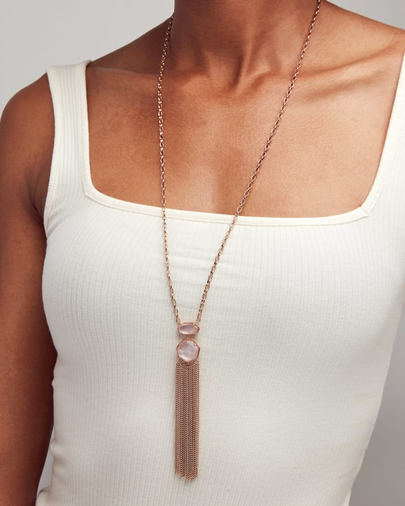 Tae Silver Long Pendant Necklace in White Howlite