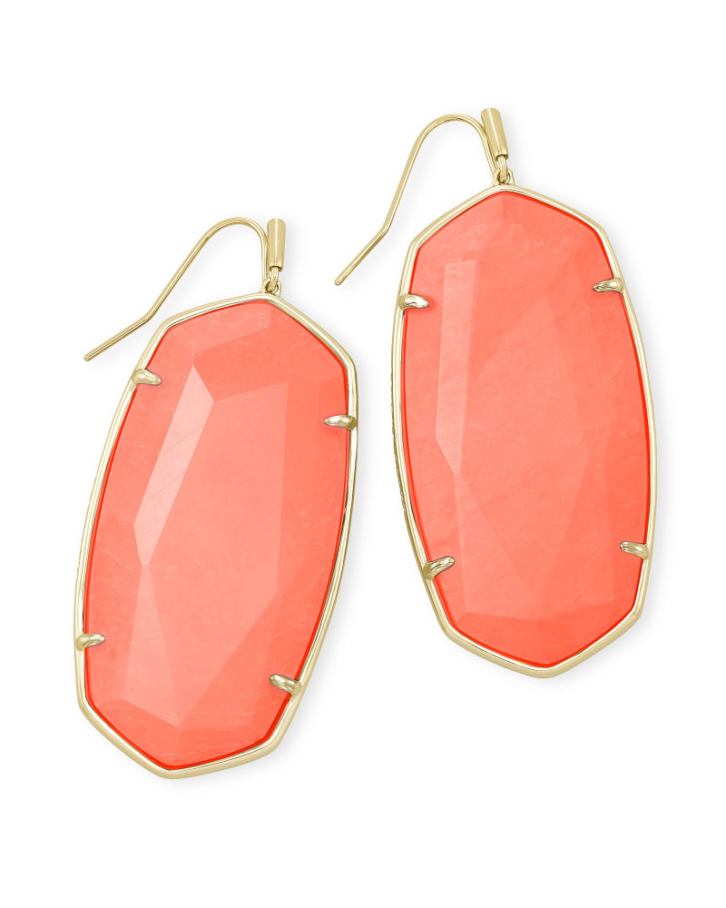 Faceted Danielle Gold Statement Earrings in Bright Coral Magnesite