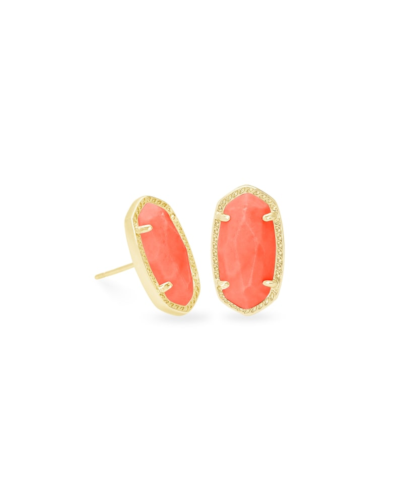 Ellie Gold Stud Earrings in Bright Coral Magnesite