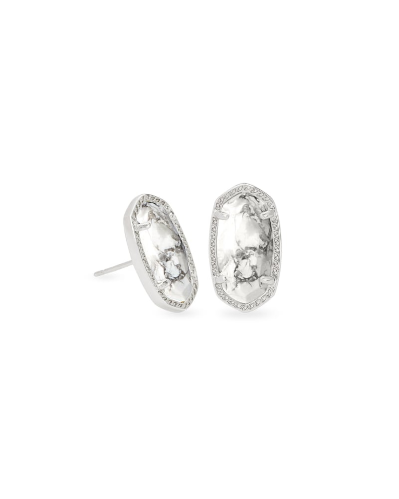 Ellie Silver Stud Earrings in White Howlite