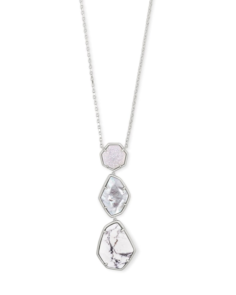 Nina Silver Long Pendant Necklace in White Mix