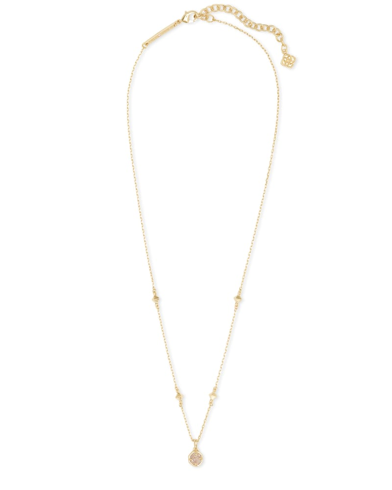 Nola Gold Pendant Necklace in Iridescent Drusy