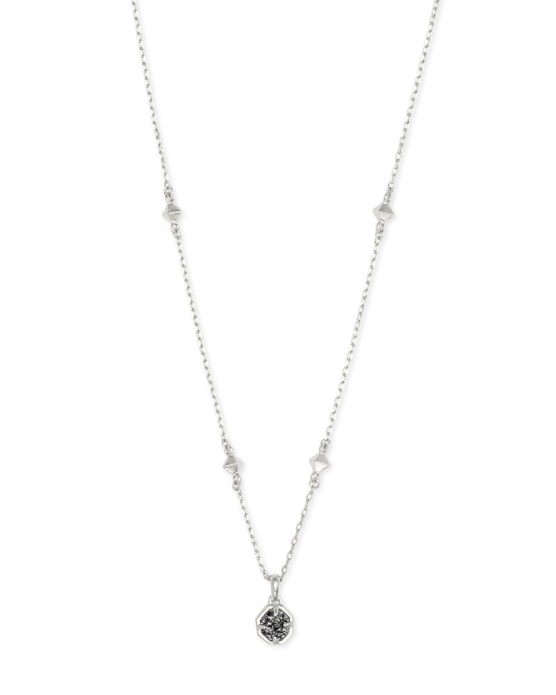 Nola Silver Pendant Necklace in Platinum Drusy