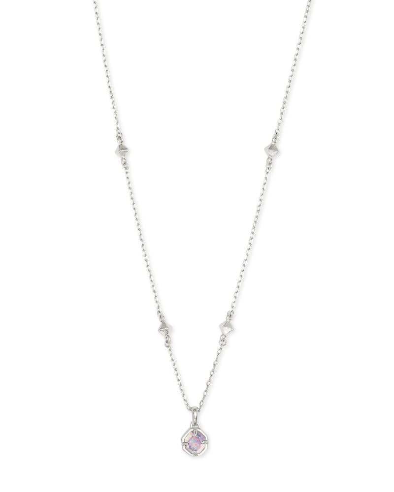 Nola Silver Pendant Necklace in White Kyocera Opal Illusion