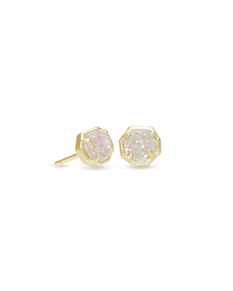 Nola Gold Stud Earrings in Iridescent Drusy