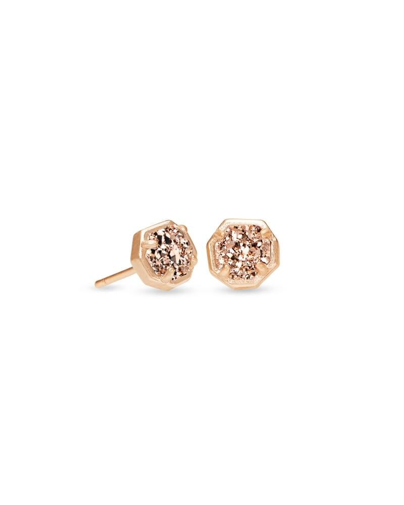 Nola Rose Gold Stud Earrings in Rose Gold Drusy | Kendra Scott