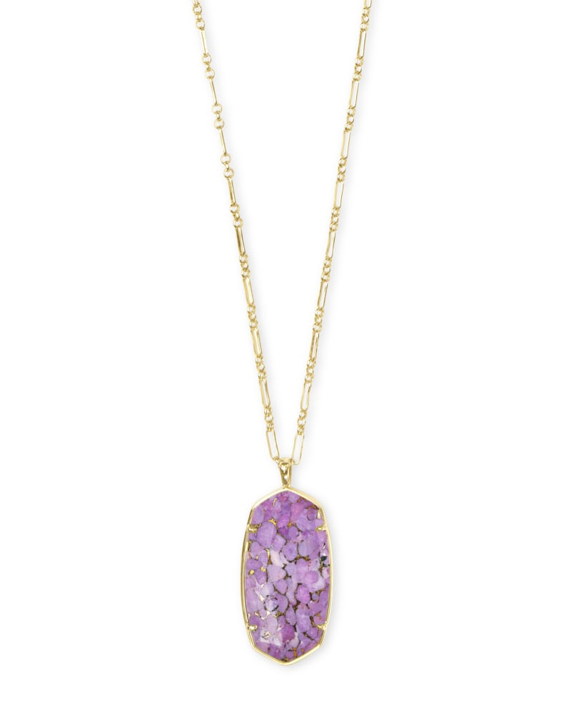 Faceted Reid Gold Long Pendant Necklace in Bronze Veined Lilac Magnesite