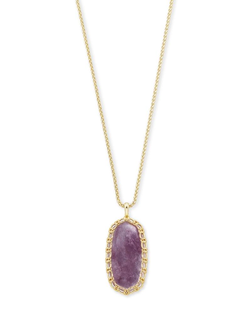 Macrame Reid Gold Long Pendant Necklace In Purple Mica