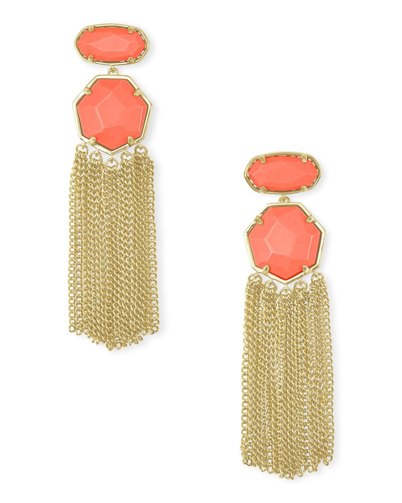 Tae Gold Statement Earrings in Bright Coral Magnesite