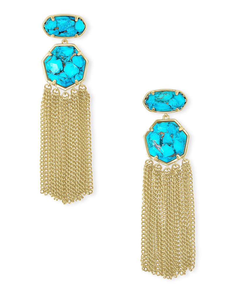 Tae Gold Statement Earrings in Bronze Veined Turquoise Magnesite