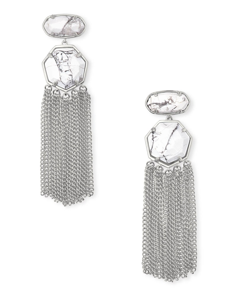 Tae Silver Statement Earrings in White Howlite