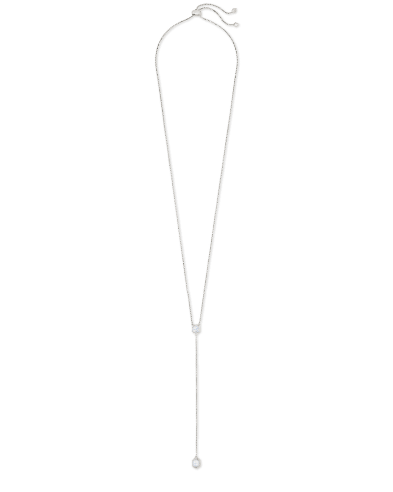 Tomon Silver Y Necklace in White Kyocera Opal Illusion
