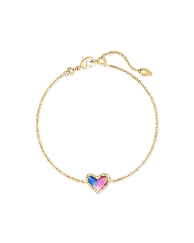 Ari Heart Gold Chain Bracelet in Watercolor Illusion