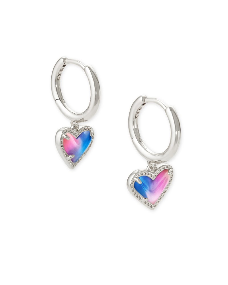 Ari Heart Silver Huggie Earrings in Watercolor Illusion