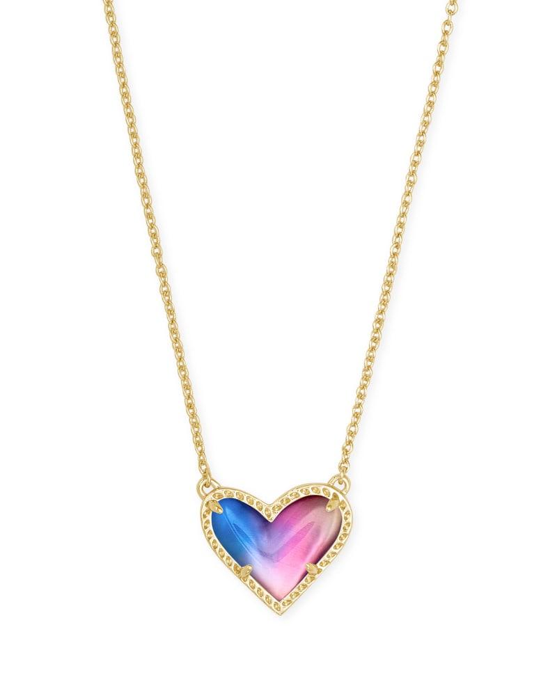 Ari Heart Gold Pendant Necklace in Watercolor Illusion