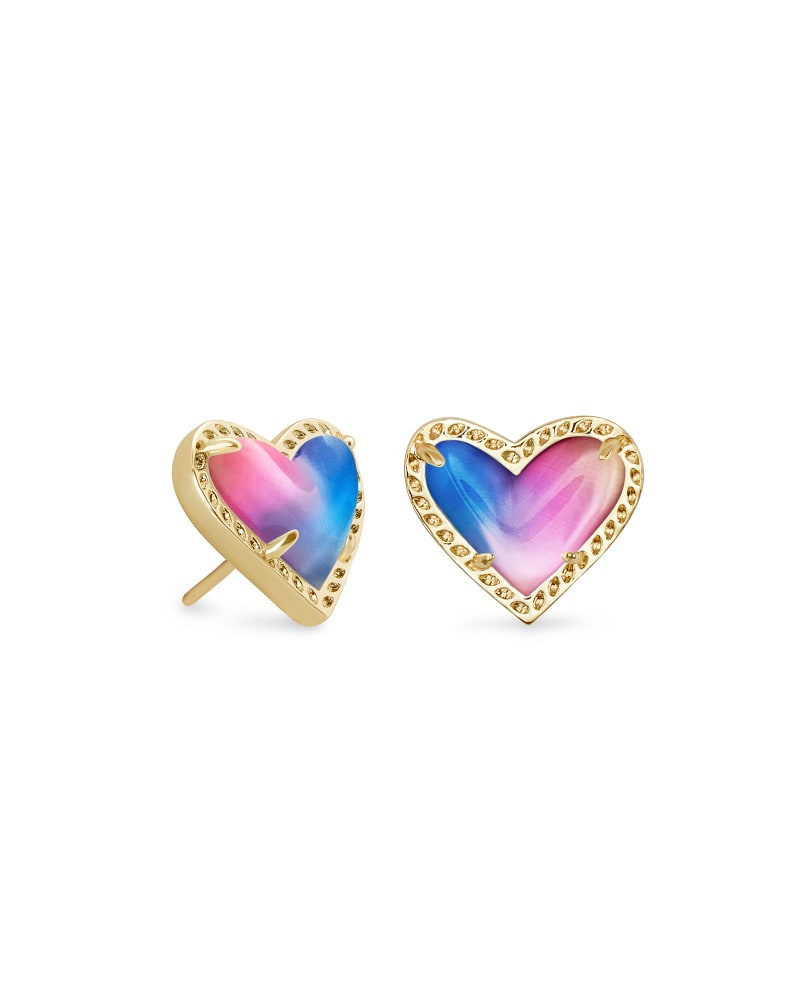 Ari Heart Gold Stud Earrings in Watercolor Illusion
