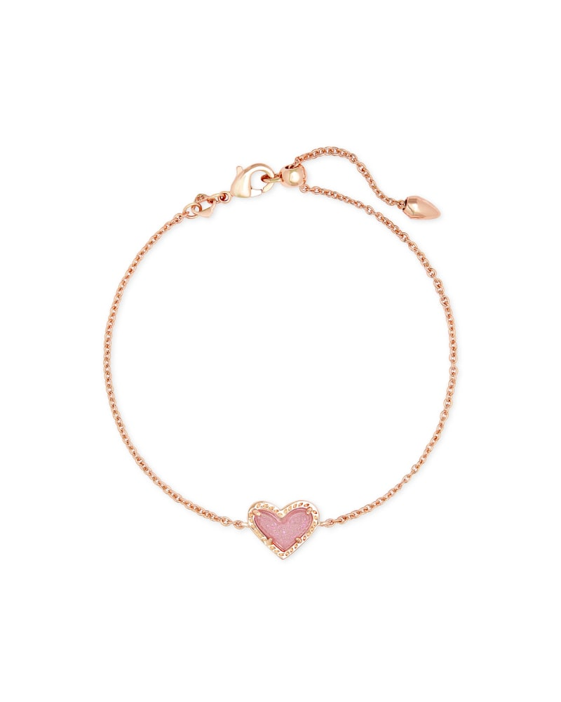 Ari Heart Rose Gold Chain Bracelet in Light Pink Drusy