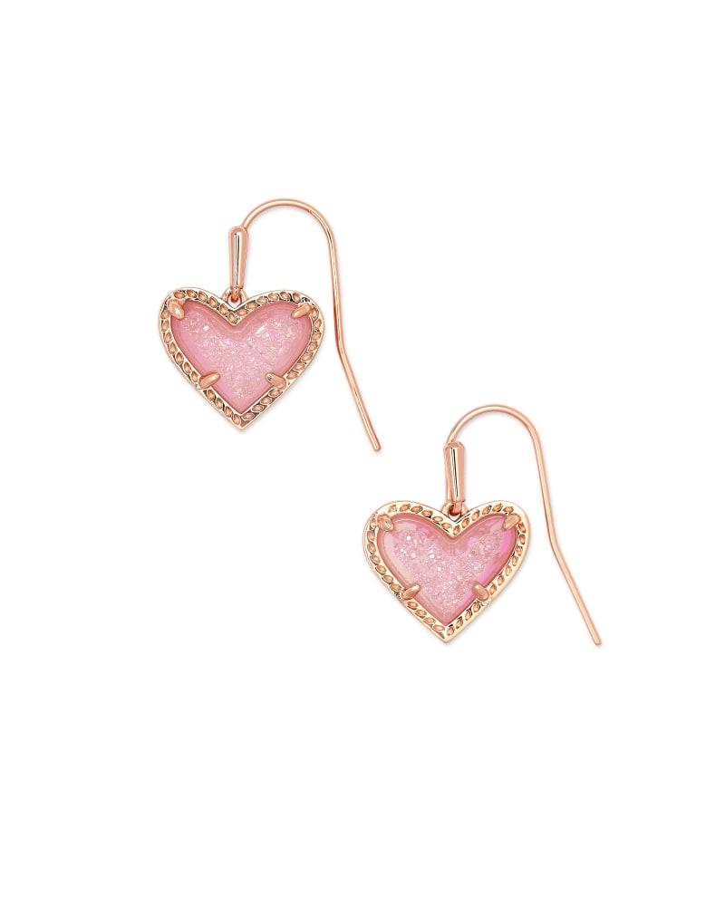 Ari Heart Rose Gold Drop Earrings in Light Pink Drusy