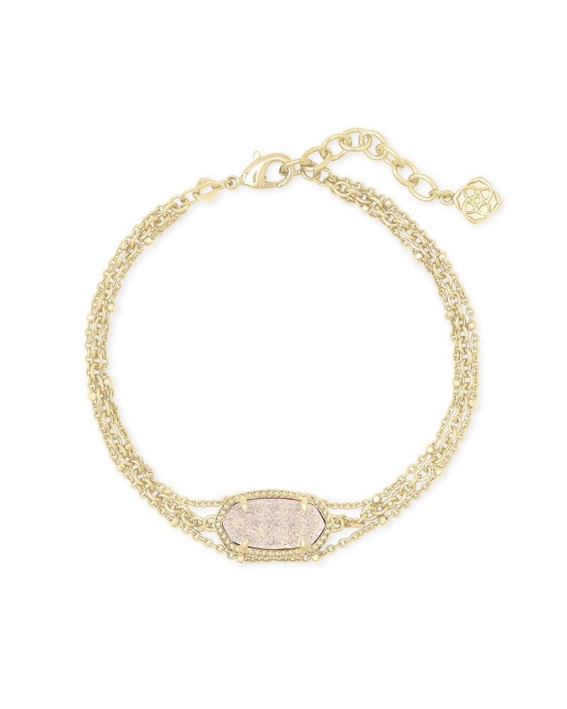 Elaina Gold Multi Strand Bracelet in Iridescent Drusy