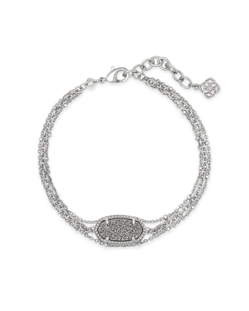 Elaina Silver Multi Strand Bracelet in Platinum Drusy