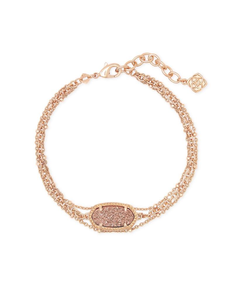 Elaina Rose Gold Multi Strand Bracelet in Rose Gold Drusy