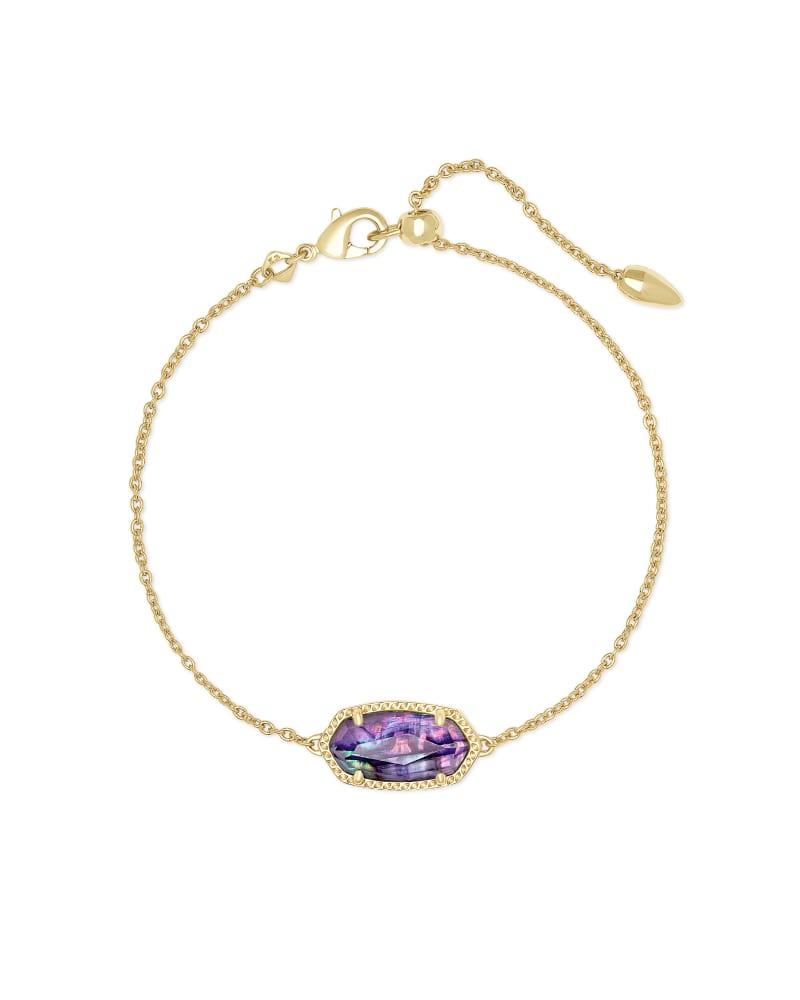 Elaina Gold Single Slide Bracelet in Lilac Abalone