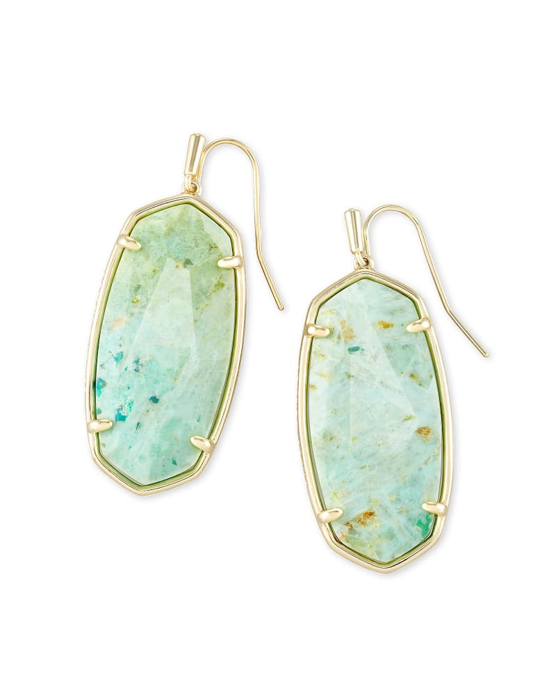 Faceted Elle Gold Drop Earrings in Sea Green Chrysocolla