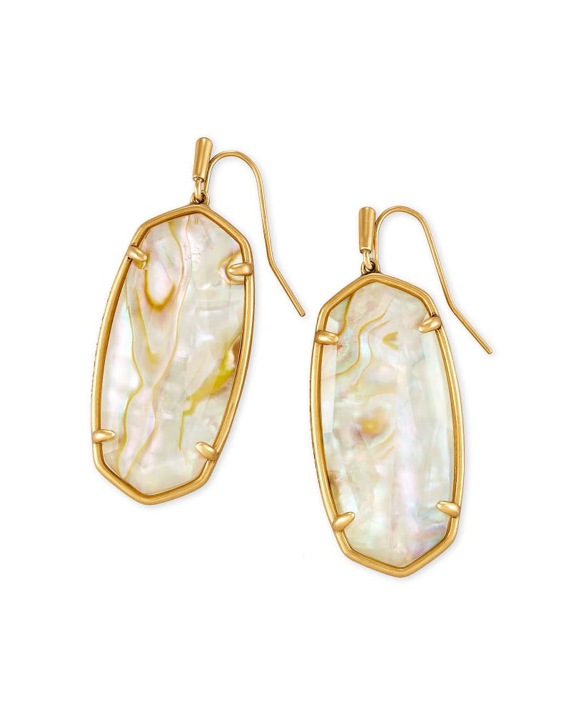 Faceted Elle Vintage Gold Drop Earrings in White Abalone