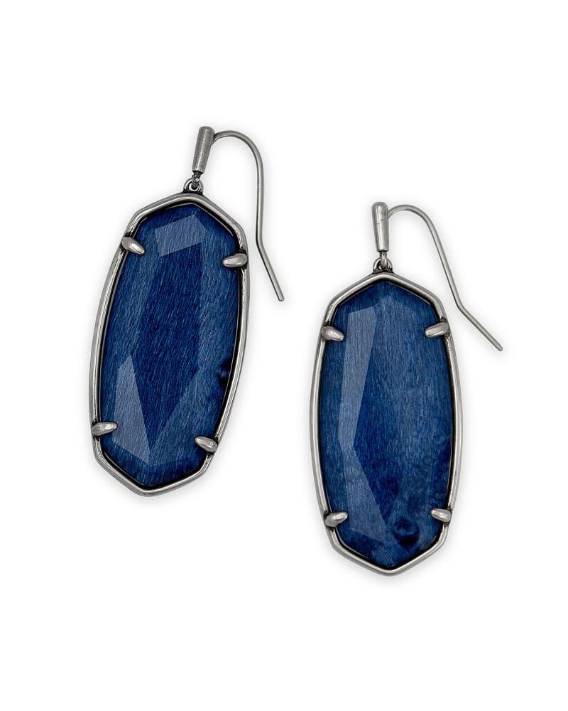 Faceted Elle Vintage Silver Drop Earrings in Navy Wood