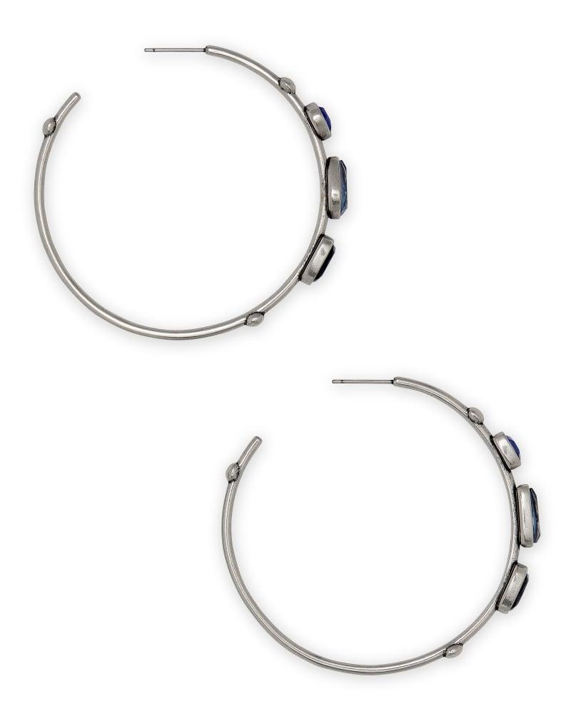Ivy Vintage Silver Hoop Earrings in Navy Mix