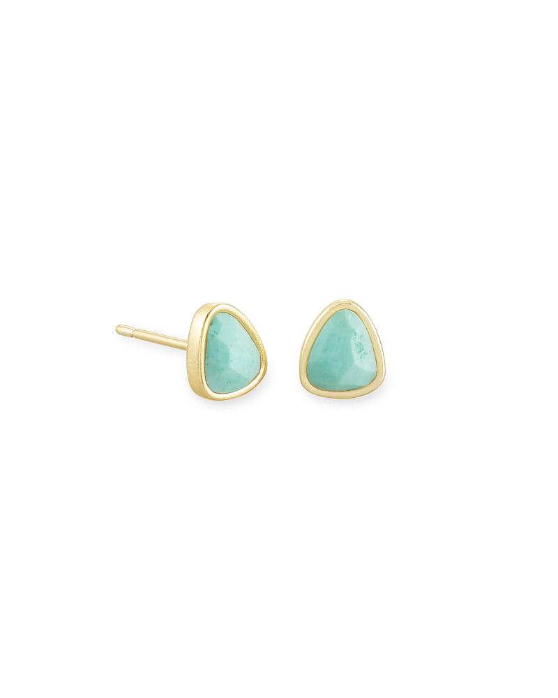 Ivy Gold Stud Earrings in Sea Green Chrysocolla