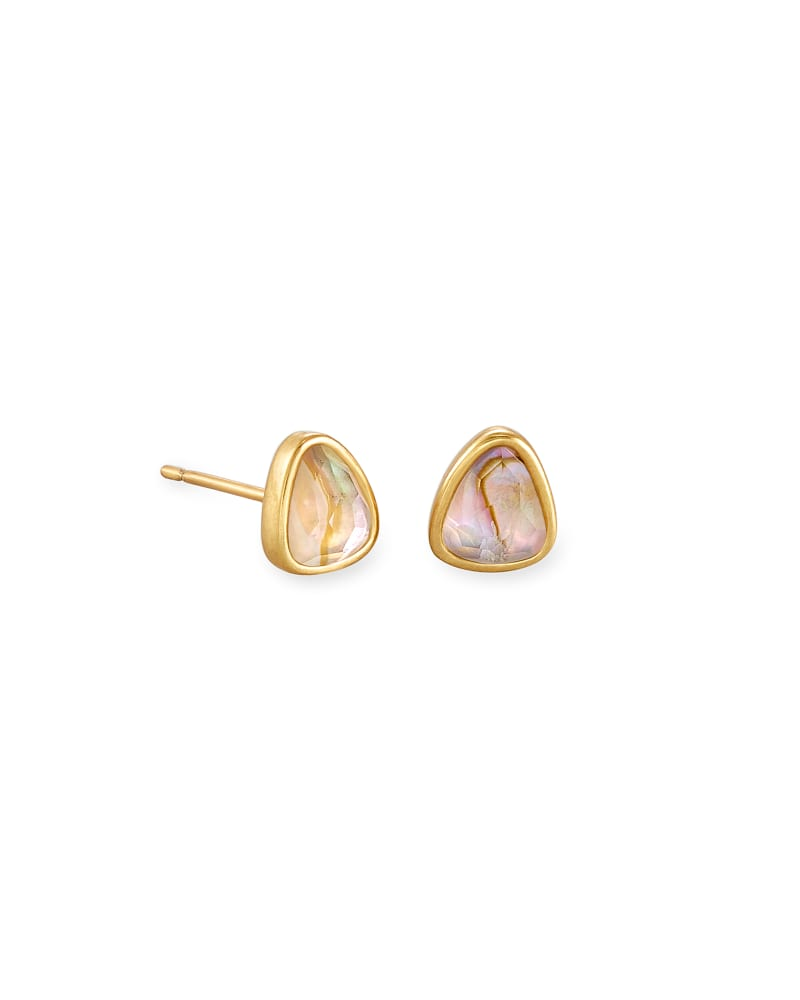Ivy Vintage Gold Stud Earrings in White Abalone