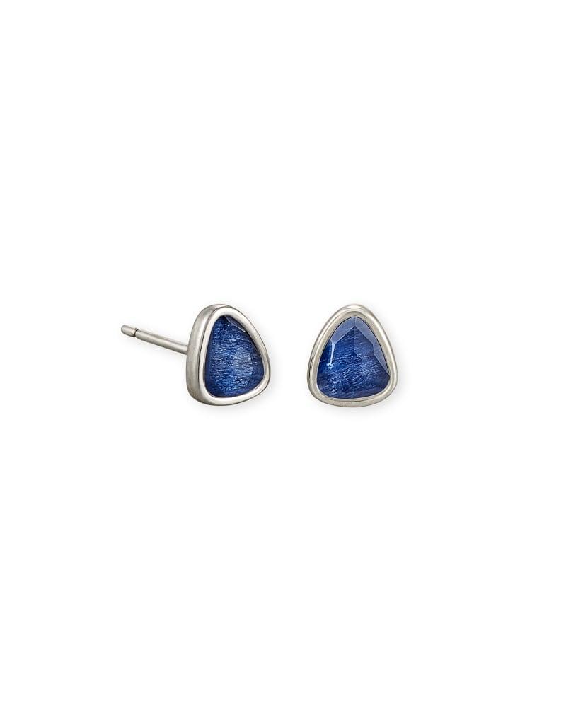 Ivy Vintage Silver Stud Earrings in Navy Wood